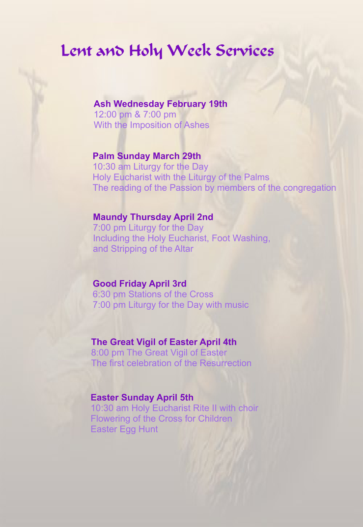 Lenten and Holy Week Service Schedule