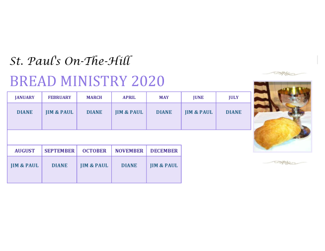 Bread Ministry Schedule 2020