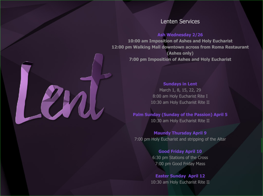 Lenten Mass Schedule 2020